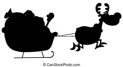 Reindeer Pulling Santas Sleigh - Solid Black Silhouette Of A...