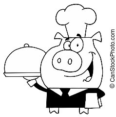 Outlined Serving Pig - Black And White Waiter Pig Serving...