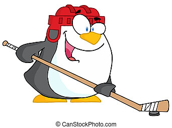 Happy Penguin Playing Ice Hockey