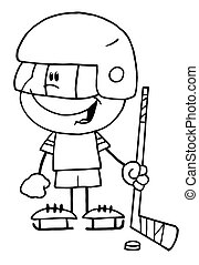 Boy Playing Hockey Goalie - Black And White Outline Of A...