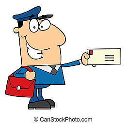 Postal Worker - Friendly Caucasian Mail Man Holding A Letter...