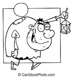 Outlined Hunchback - Outlined Mascot Cartoon Character...