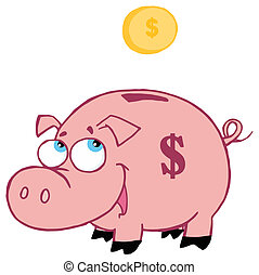 Piggy Bank - Jolly Pink Piggy Bank Watching A Coin Fall Into...