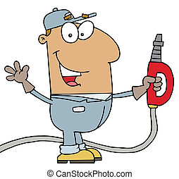 Hispanic Gas Attendant Man - Hispanic Cartoon Gas Attendant...