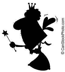 Silhouette Of A Fairy Godmother - Solid Black Silhouette Of...