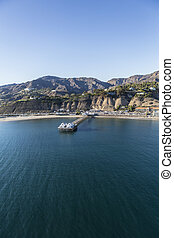 Malibu Pier and the Pacific Ocean - Aerial view of Malibu...