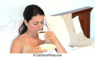 Woman Having Sore Throat - Young sick woman having sore...