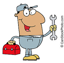 Hispanic Mechanic Guy - Happy Hispanic Mechanic Man With A...