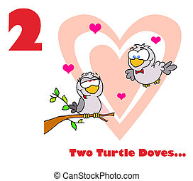 Two Loving Birds - Red Number Two Over Two Turtle Doves By A...