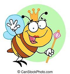 Happy Queen Bee - Cartoon Character Happy Queen Bee