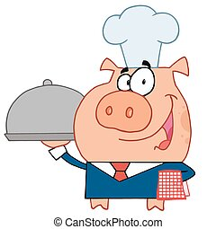 Happy waiter pig in a chefs hat - Friendly Waiter Pig In A...