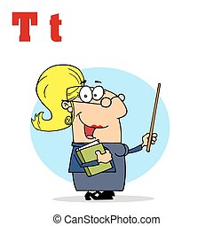 Female Teacher With Letters T - Funny Cartoons...