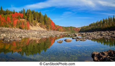 passage of time - autumn, mountain, river, forest landscape...