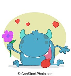 Happy blue monster holding a  Flowe