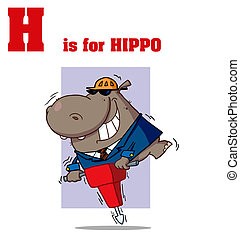 Hippo With H Is For Hippo Text