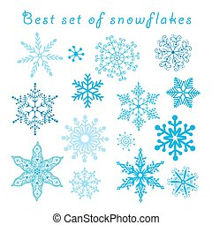 Vector set of different blue snowflakes on a white...