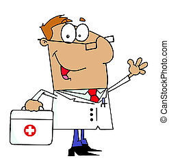 Tan Cartoon Doctor Man Carrying His