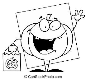 Outlined Pumpkin - Outlined Waving Halloween Pumpkin