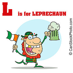 Leprechaun With L Is For Leprechaun Text