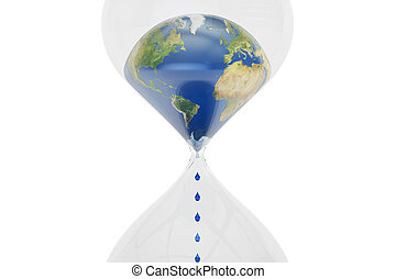 Earth in hourglass closeup, ecological concept. 3D rendering