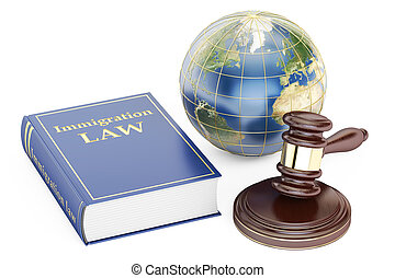 Immigration Law concept with gavel and globe. 3D rendering