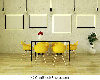 3D render of beautiful dining table with yellow chairs -...