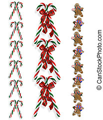 Christmas borders candy canes 2 - Image and illustration...