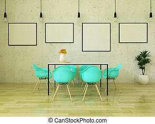 3D render of beautiful dining table with turquoise chairs