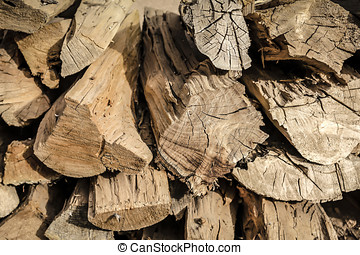 Stacked firewood outside in Santa Fe NM - Chopped fire wood...