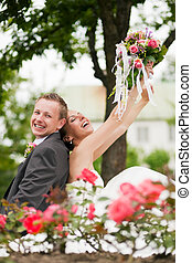 Wedding - happy couple - Visibly happy newlywed couple...