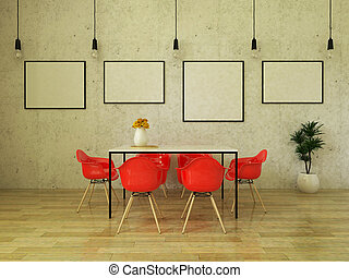 3D render of beautiful dining table with bright red chairs
