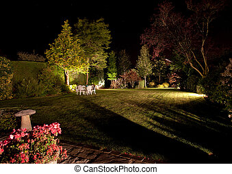 Floodlit garden - Well tended garden and flowers floodlit at...