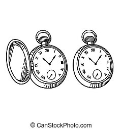 Antique pocket watch, vintage engraving style. Isolated...