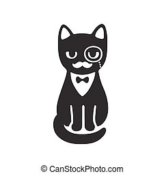 Tuxedo cat with monocle and bow tie. Funny cartoon vector...