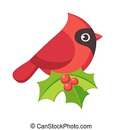 Red cardinal bird - Cute cartoon red cardinal bird...