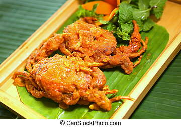 Deep fried sorf-shelled crab with salt egg and tamarind sauce