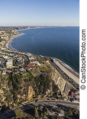 Los Angeles Pacific Coast Highway Aerial - Aerial of Pacific...