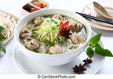 Pho bo vien or Vietnamese traditional noodle with beef balls