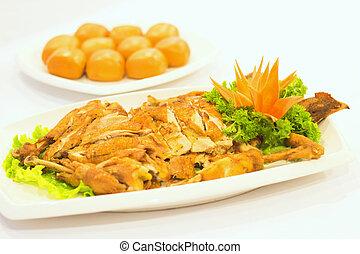 Fried chicken with dumplings