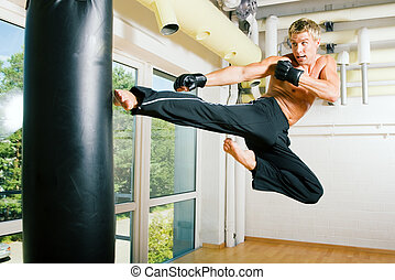 Martial Arts Flying - Kickboxer kicking the sandbag