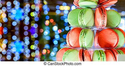 christmas bokeh ligh colorful macarons tower - French...