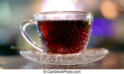Brewing black tea with hot water