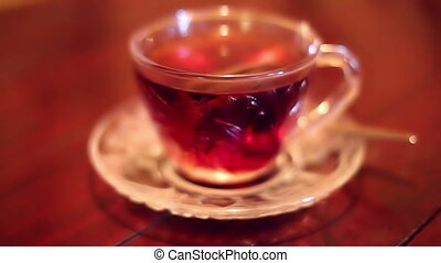 Soft focused black tea brewed with hot water