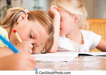 niños, deberes, escuela