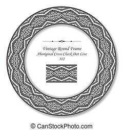 Vintage Round Retro Frame of Aboriginal Cross Check Dot Line