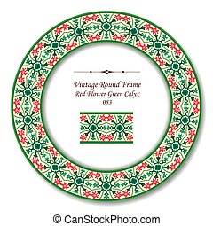 Vintage Round Retro Frame of Retro Red Flower Green Calyx