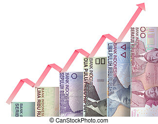 Money growth graph - Paper money bills growing in size and...