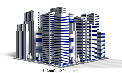 City On White Background - Loop able 3DCG render Animation.