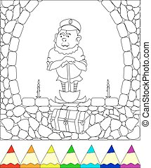 gnome - coloring, gnome in the cave digs up a treasure,...