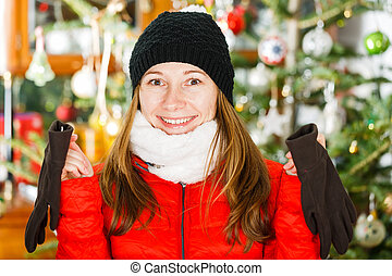 Happy young lady - Portrait of cheerful young lady looking...
